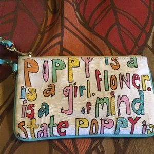 Large Coach Poppy Graphic Wristlet